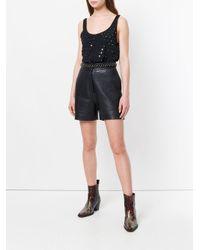 Saint Laurent Black Mirrored Eyelet Embellished Vest