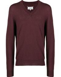 メンズ Maison Margiela エルボーパッチ セーター Purple