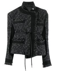 Veste asymétrique en tweed Sacai en coloris Black