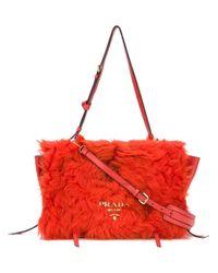 Prada Red Shearling Flap Bag