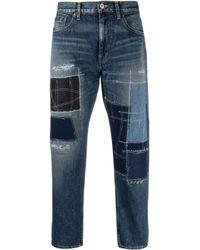Jean crop à design patchwork Junya Watanabe pour homme en coloris Blue