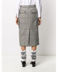 Юбка Миди В Клетку Prince Of Wales Thom Browne, цвет: Black