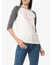 Saint Laurent White Logo Print T-shirt