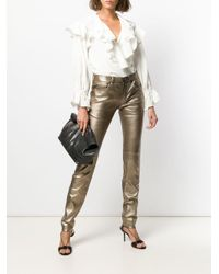 Saint Laurent Skinny-Jeans im Metallic-Look
