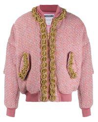 Бомбер С Вышивкой Moschino для него, цвет: Pink
