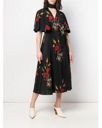 Valentino Black Printed Silk Wrap Dress