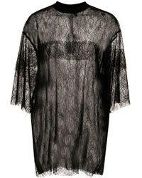 Vera Wang Black Oversized Sheer Lace T-shirt