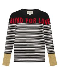 Top de punto a rayas Blind for Love Gucci de color Black