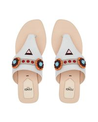 Fendi - White Floral Embellished Sandals - Lyst