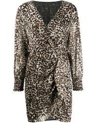 Vestido con pliegues y estampado de leopardo Pinko de color Brown