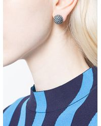 Oscar de la Renta - Blue Dome Button Earrings - Lyst