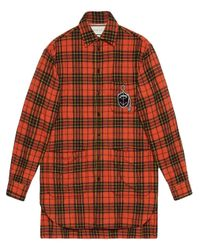 Gucci Orange Oversize Check Wool Shirt With Anchor for men