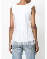 P.A.R.O.S.H. White Layered Tulle Top