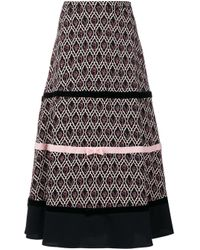 Vivetta Black Patterned Bow Detail Skirt