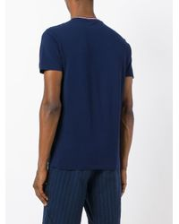 Polo Ralph Lauren | Blue Logo Tricolour Trim T-shirt for Men | Lyst