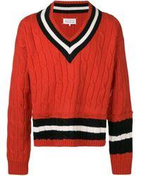 メンズ Maison Margiela Vネック セーター Red