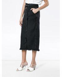 Nanushka Black Frayed Denim Skirt