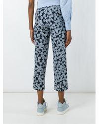 Julien David Blue Cropped Floral Trousers