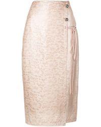 Yigal Azrouël Pink Laminated Lace Skirt