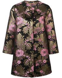 Deco jacquard long jacket Josie Natori en coloris Black