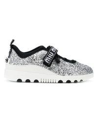Miu Miu - Metallic Glittered Sneakers - Lyst