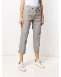 Pantalon crop à motif pied-de-poule 6397 en coloris Black