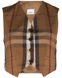 Burberry Brown Button-up Check Print Waistcoat