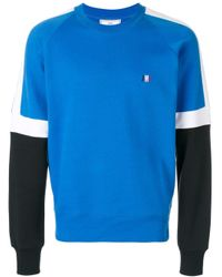 メンズ AMI トリカラー スウェットシャツ Blue