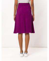 Egrey Purple Belted Midi Skirt