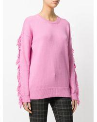 ° Suéter N flecos de borde 21 y con Rosa púrpura wq7pwUv8