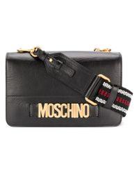 Moschino Black Logo Plaque Shoulder Bag