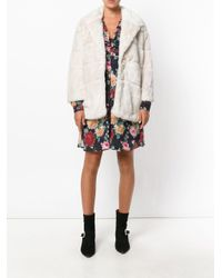 Twin Set - White Cropped Faux Fur Coat - Lyst