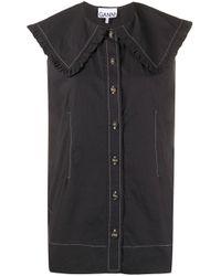 Блузка Без Рукавов С Широким Воротником Ganni, цвет: Black
