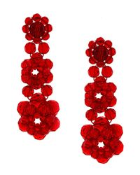 Simone Rocha Crystal Beaded Earrings Red