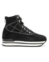 Hogan Blue Heeled Sneakers With Zip