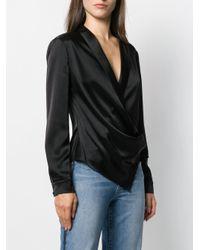 Blouse drapée à col v Alice + Olivia en coloris Black