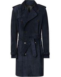 Burberry Trenchcoat aus Wildleder in Blue für Herren