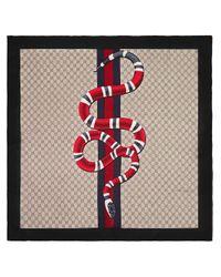 Foulard GG à imprimé Kingsnake Gucci pour homme en coloris Red