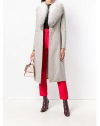 Blumarine Multicolor Fur Collared Coat