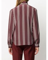 Ports 1961 Red Spotted Silk Pussy-bow Blouse