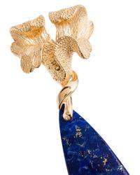 APPLES & FIGS Blossoms ラピスラズリ ドロップピアス 24kイエローゴールド Blue