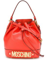 Moschino Red Logo Plaque Bucket Tote