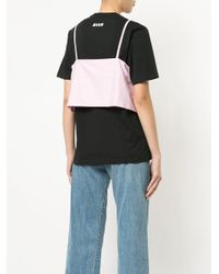 MSGM Black Layered Tie-front Striped Top