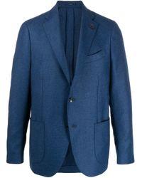 メンズ Lardini スリムフィット シングルジャケット Blue