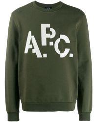 メンズ A.P.C. ロゴ スウェットシャツ Green