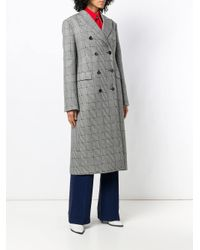 CALVIN KLEIN 205W39NYC Gray Checked Double Breasted Coat