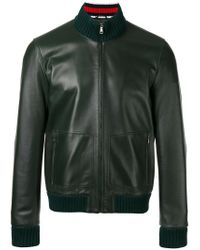 Gucci - Green Leather Bomber Jacket for Men - Lyst