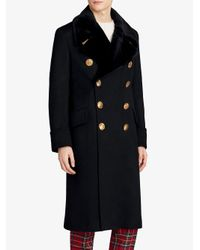 Burberry - Black Double-breasted Greatcoat for Men - Lyst