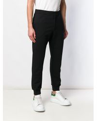 Alexander McQueen Black Logo Embroidered Track Trousers for men