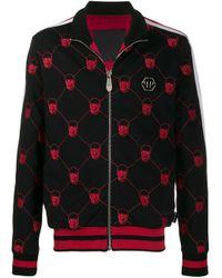 Philipp Plein Black Skull Embroidered Track Jacket for men